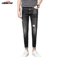 26.30$  Watch now - http://alih7h.shopchina.info/go.php?t=32807312622 - LiSENBAO 2017 New spring Men's biker jeans  men pants Slim Holes skinny ripped jeans for men jeans Trousers robin Jeans H135  #buyonlinewebsite