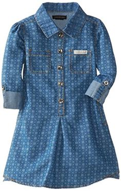 Calvin Klein Little Girls' Printed Dress, Chambray, Printed shirtdress featuring cuffed sleeves, five-button placket, and chest pockets. Fashion Prints, Love Fashion, Kids Fashion, Autumn Fashion, Womens Fashion, Baby Girl Dresses, Girl Outfits, Chambray, Calvin Klein Models