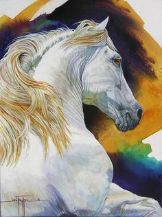 Equine Art   Jan Taylor - Master and Commander  - #horse #watercolor #art by Jan Taylor #equine