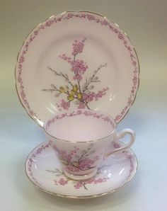 Tuscan English Vintage China Tea cup Trio April Beauty Pink 1950's