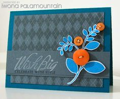The simplicity of this card with the bold pops of blue and orange are awesome!