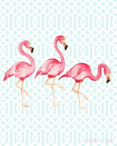 Flamingo Trellis art print.