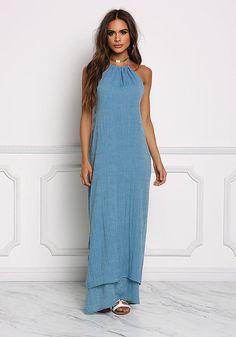Dusty Blue High Slit Halter Maxi Dress - Midi and Maxi - Dresses Junior  Dresses 3b011fcd09fa2
