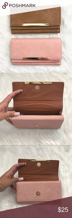 Mauve or Brown Wallet Perfect wallet for a person who needs extra pockets on a wallet. The first opening has one great size pocket. The second opening holds cards. 3 long slit pockets and 13 card holders. $25 each Bags Wallets