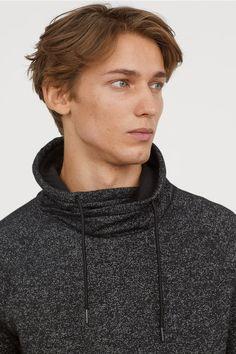 df0f24346 Jersey Chimney-collar Shirt - Black melange - Men | H&M US 2 Collar Shirts