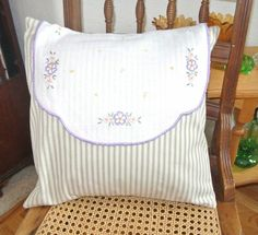 "Hand Crafted Tan Pinstirpe with Vintage Doily Accent  Pillow 16"" #2"