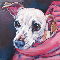 Snowie the Rat Terrier Dog in pink Blankets Custom Pet Portrait Painting Acrylic…