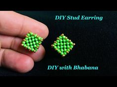 Beaded Stud Earring CRAW Beaded Stitch How to Make Orecchini Tutorial Beaded Anklets, Beaded Rings, Beaded Bracelets, Diy Earrings Studs, Seed Bead Earrings, Beading Tutorials, Beading Patterns, Ankle Chain, Earring Tutorial
