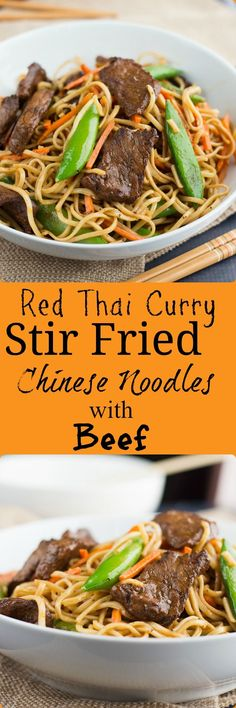 Red Thai Curry Stir Fried Chinese Noodles with Beef These Red Thai Curry Stir Fried Noodles with Beef has a tasty spicy red curry sauce and beef marinade that brings your stir fry to life! Asian Noodle Recipes, Indian Food Recipes, Healthy Dinner Recipes, Asian Recipes, Great Recipes, Vegetarian Recipes, Oriental Recipes, Healthy Dinners, Healthy Foods