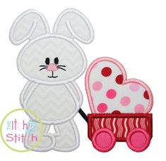 Bunny Wagon Heart Applique design for machine by TheItch2Stitch, $4.00