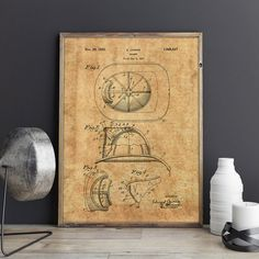 Fire Helmet Patent Poster Firefighter Patent by GattoStamps