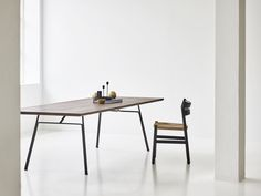 CORDUROY TABLE, rectangular version in smoked oak. Designed by Christian Troels for dk3 in 2018