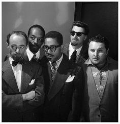 Dave Lambert. John Simmons. Dizzy Gillespie. George Handy. Chubby Jackson. Taken by: William P. Gottlieb