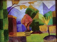 Giclee Print: Garten Am Thuner See Wall Art by August Macke by Auguste Macke : August Macke, Garden Painting, Painting & Drawing, Painting Prints, Art Prints, Paintings, Franz Marc, William Turner, Oil On Canvas