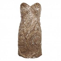 Forever Unique Womens Gold All Over Sequinned Strapless Dress