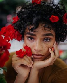 Freckles + red flowers + curly hair + of African decent Pretty People, Beautiful People, Aiyana Lewis, Curly Hair Styles, Natural Hair Styles, Black Is Beautiful, Freckles, Pretty Face, Hair Beauty