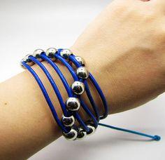 Blue Soft Leather with Silvery Beads Cuff Bracelet by braceletcool, $6.00