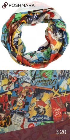Women of DC Comics Bombshells Infinity Scarf This is for 1 DC Comics Bombshells themed Infinity Viscose Scarf.  Theme:  DC Comics  - Officially Licensed Pattern: Women of DC - Characters include Poison Ivy, Catwoman, Supergirl and more! Brand: Bioworld Material: 100% Polyester - Light Weight!  Makes a great gift!  CONDITION - New  Check my Posh for even more DC Comics items! Bioworld Accessories Scarves & Wraps