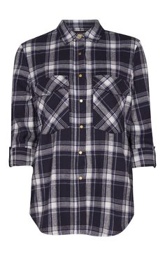 Primark - Navy And White Oversized Check Shirt