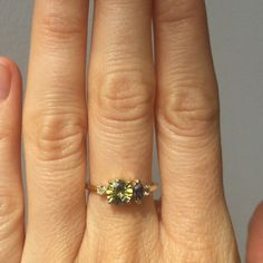 Sweet little one of a kind stone cluster ring with bicolor sapphires and old mine cut diamonds set in 14k yellow gold. #mociun