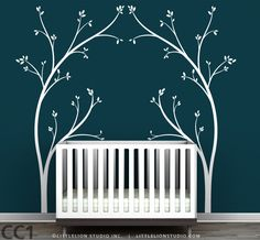 Kids wall decal white tree modern original different wall decal for modern nature inspired baby room decor - Tree Canopy Bed Headboard. $79.00, via Etsy.