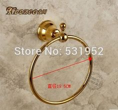 Free Shipping Antique Round Towel Ring , Gold Plate Towel Holder,Bathroom Accessories, Brass Made,North America Euro Design