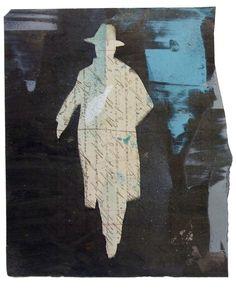 Fernando Pessoa silhouette. Pintura de Juanma Pérez sobre  documento alemán antiguo original (aprox. 1920).