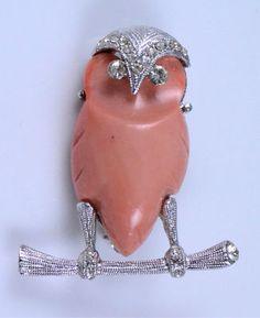 Hattie Carnegie signed owl brooch