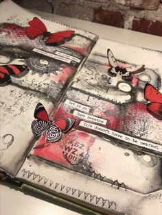 Closeup art journal page