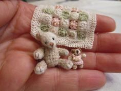 Mini crochet bears and baby blanket, #miniature