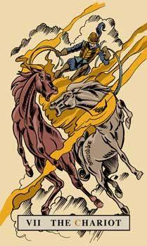 The Chariot Tarot Card - English Magic Tarot Deck The Chariot Tarot, Major Arcana Cards, Tarot Card Meanings, Oracle Cards, Tarot Decks, Tarot Cards, Mythology, Magic, English