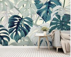 Green Leaf Wallpaper, Wall Wallpaper, Leaves Wallpaper, Tropical Wallpaper, Bathroom Mural, Smooth Walls, Motif Floral, Tropical Leaves, Wall Murals