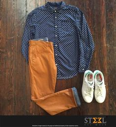 This weekend getaway wearing this cool ensemble !  Polka dot shirt with dark camel coloured chinos & white sneakers :)  #Chinos #Weekend #Gateway #ensemble #Shirt #Getaway #Escape #Travel #SaleTime #Shopping