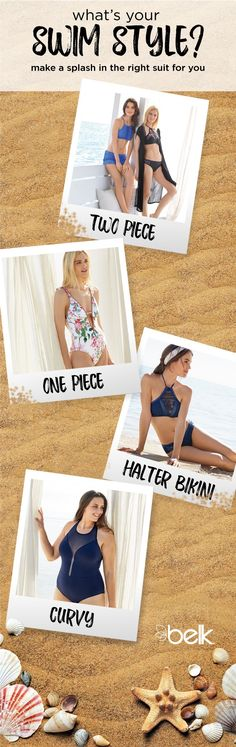 The prettiest thing you'll wear on the beach is confidence, so make a splash in the right swimsuit for you. Two-piece suits offer a colorful array of options to mix and match. This season's one-piece styles feature ruffles for an ultra-femme touch. Expect high-neck suits and halter bikinis to be the hottest trends on the beach. For women's plus, there are so many suits made to fit, flatter and flaunt curvy figures. Shop swimwear that suits you in stores or at belk.com.