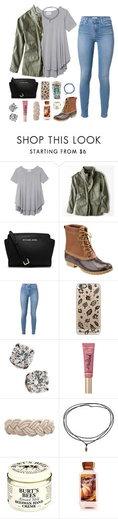 """contest results in d"" by sarah-amelia-mcg ❤ liked on Polyvore featuring Olive + Oak, American Eagle Outfitters, Michael Kors, L.L.Bean, 7 For All Mankind, Casetify, Tiffany & Co., Too Faced Cosmetics, Swell and Burt's Bees"