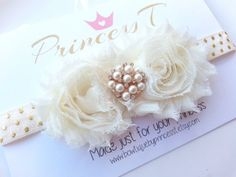 Baby/Girls Headband Ivory/Cream Shabby by BowtiquebyprincessT