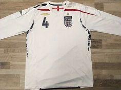 30e74cb82 England  4 2007-2009 Steven Gerrard Umbro long sleeve shirt jersey Size L