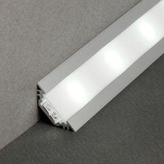 Profil complet Led 2m Aluminium Blanc ou Noir Encastrable en Angles 30° et 45° pour ruban de led.