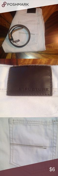 Structure men's jeans White jeans.. Slim fit belt not for sale and from a smoke free home. structure Jeans Slim Straight
