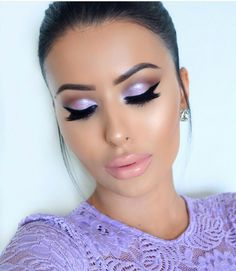 I like the lavender eye makeup, without such heavy liner, and lips are too much. Just like the eyeshadow!