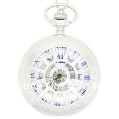 NOVO 2014 Unisex relógio antigo fob rodas esqueleto da cadeia liga de prata do vintage relógio de bolso Mecânica Vento mão das mulheres dos homens