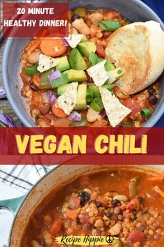 This is the best vegan chili recipe on Pinterest! This chipotle flavored chili is so healthy and delicious, and it is a 20 minute dinner idea! This meatless monday meal is the perfect fall comfort food. Serve this quick and easy vegetarian chili recipe as a football appetizer or a tasty superbowl chili! This recipe uses a lot of pantry ingredients to make it simple. It's plant based, homemade, 3 bean and fiesta style all in one! Yummy! Can be a dinner for two or a family meal idea! Best Vegan Chili, Vegetarian Chili Easy, Fall Recipes, Dinner Recipes, Healthy Recipes, Meatless Monday, Chili Recipes, Light Recipes, Plant Based