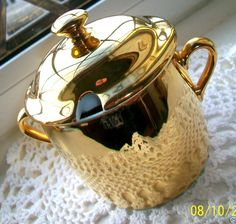 ROYAL WORCESTER~ENGLAND~GOLD LUSTRE~GLAZED PORCELAIN LIDDED JAM/CONSERVE POT EX!