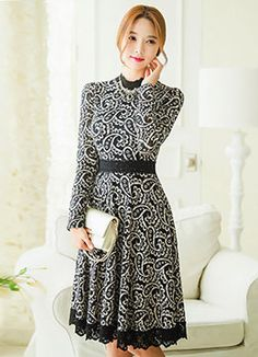 Paisley Lace Long Sleeve Flared Dress, Styleonme