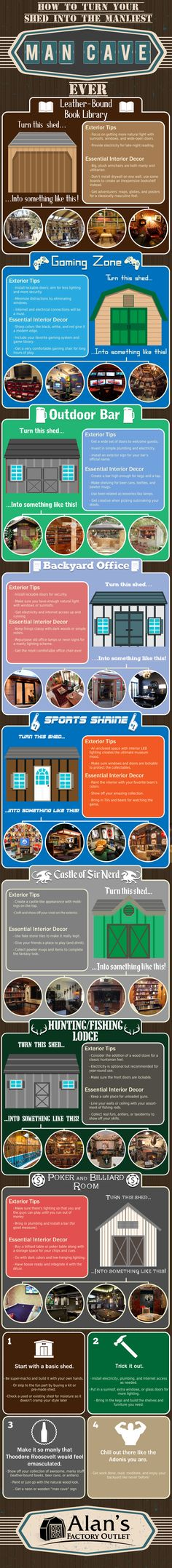 Turn Your Shed Into The Perfect Man Cave #Infographic #HomeImprovement… #homeofficeideasformen