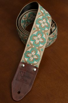 Beige/Ivory/Blue Vintagestyled Guitar Strap by nowherebearstraps, $70.00
