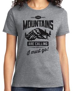Amazon.com: Idiopix The Mountains Are Calling Women's T-shirt - Camping Hiking Mountain Enthusiast Gifts: Clothing