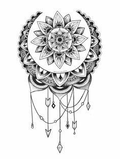 Tattoo, sun and moon mandala, henna tattoo hip, sunflower mandala tattoo,. Henna Tattoo Hip, Atrapasueños Tattoo, Tattoo Style, Tattoo Hals, Back Tattoo, Body Art Tattoos, Sleeve Tattoos, Tattoo Moon, Wing Tattoos