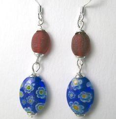Red wth blue oval millifiore dangle earrings by beadwizzard