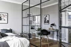 Modern room partitions have many uses. They can divide a large room into smaller areas, separate a room, enhance your […] Home Bedroom, Bedroom Decor, Bedroom Ideas, Bedroom Divider, Room Dividers, Bedroom Lamps, Wall Lamps, Design Bedroom, Bedroom Lighting